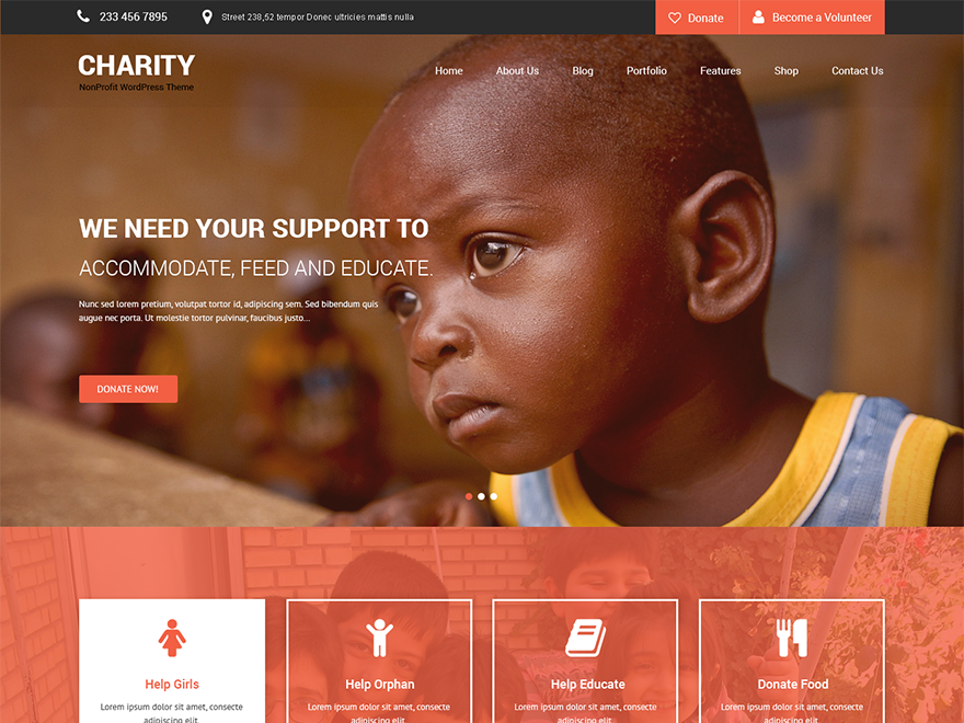SKT Charity Preview Wordpress Theme - Rating, Reviews, Preview, Demo & Download