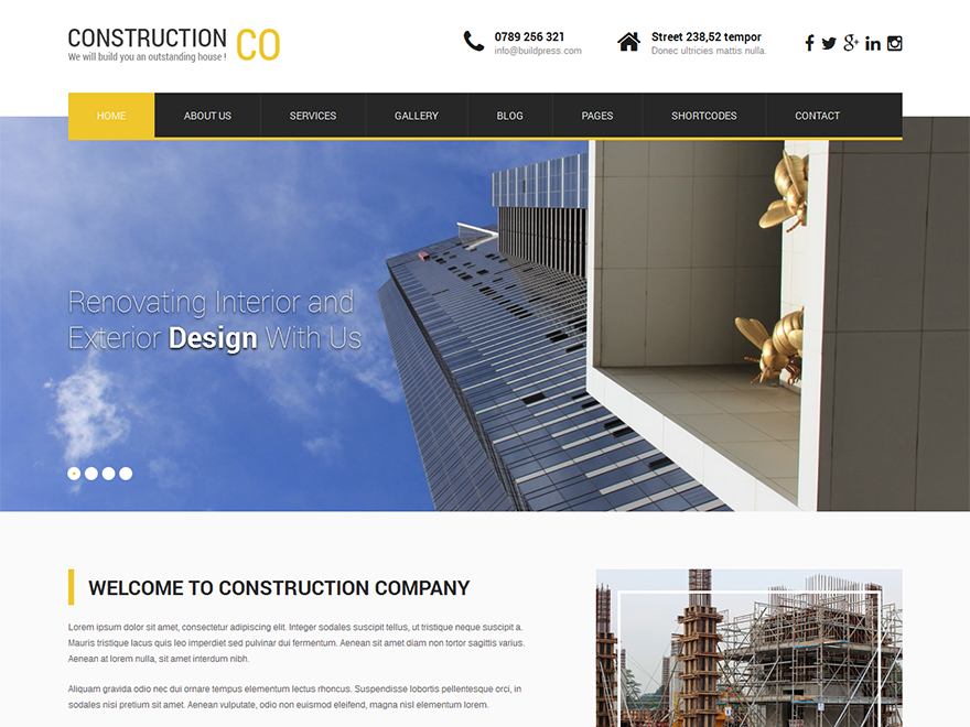SKT Construction Preview Wordpress Theme - Rating, Reviews, Preview, Demo & Download