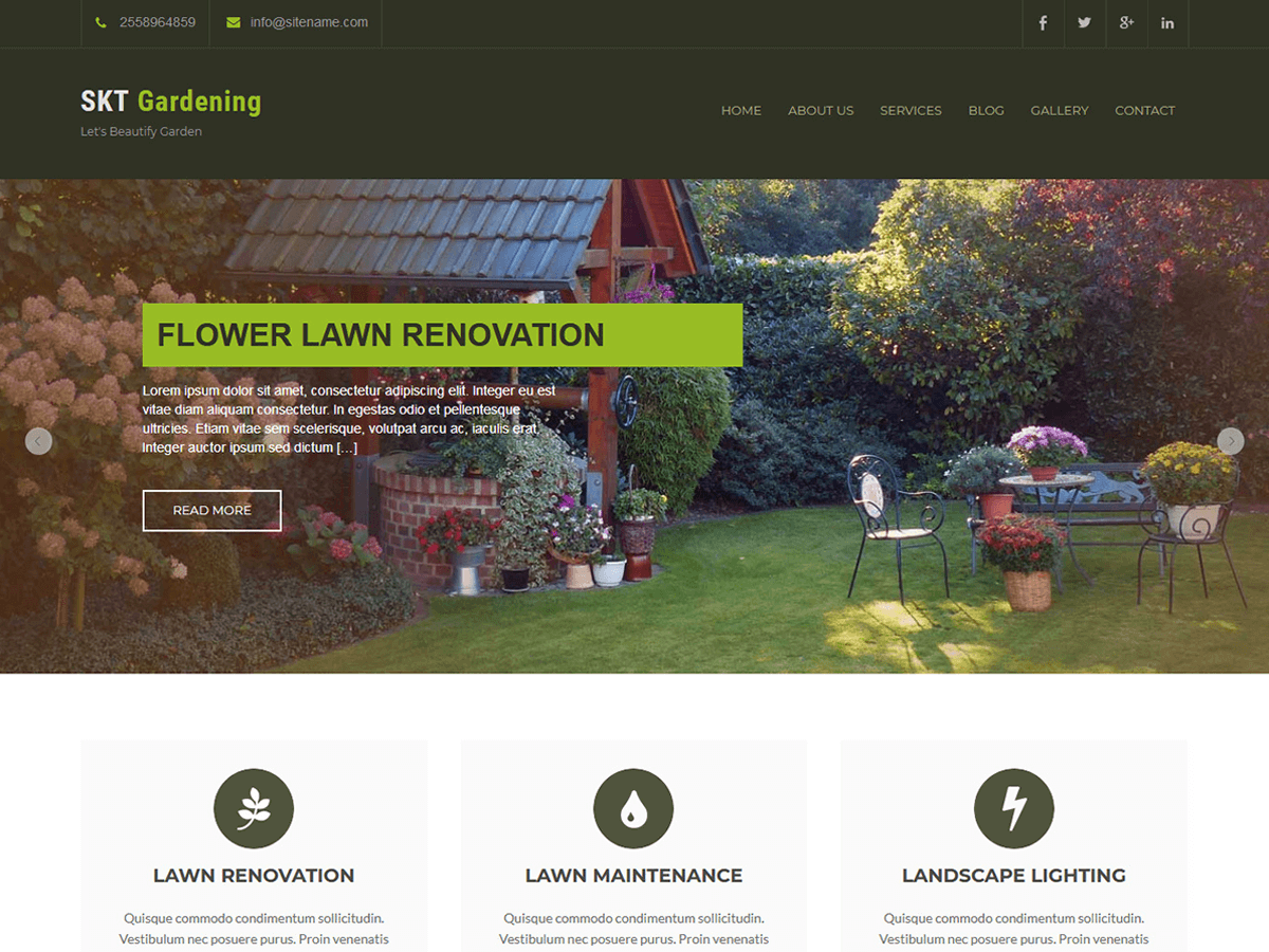 SKT Gardening Preview Wordpress Theme - Rating, Reviews, Preview, Demo & Download