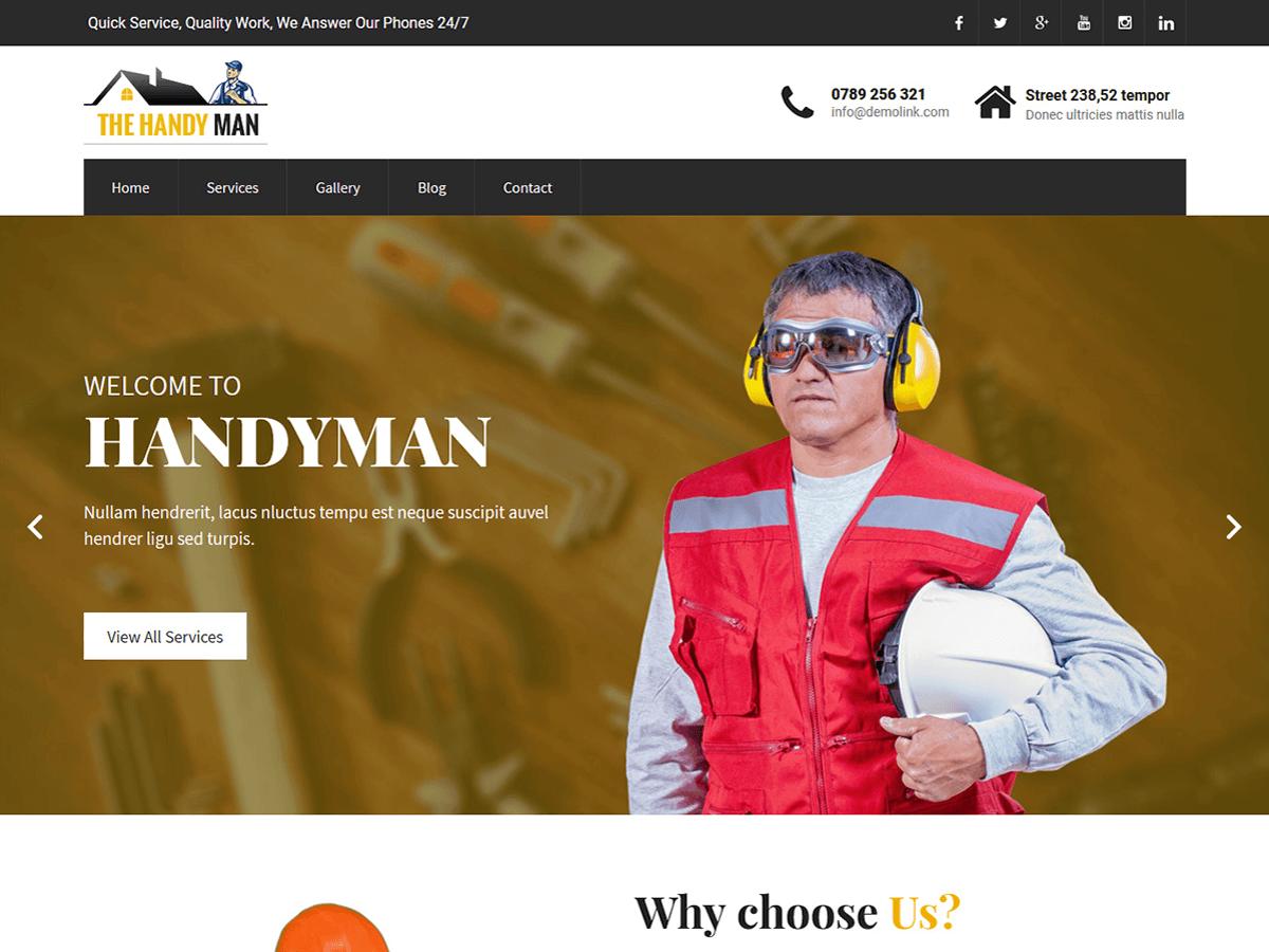 SKT Handyman Preview Wordpress Theme - Rating, Reviews, Preview, Demo & Download