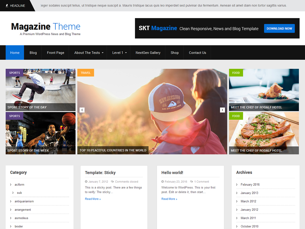 SKT Magazine Preview Wordpress Theme - Rating, Reviews, Preview, Demo & Download