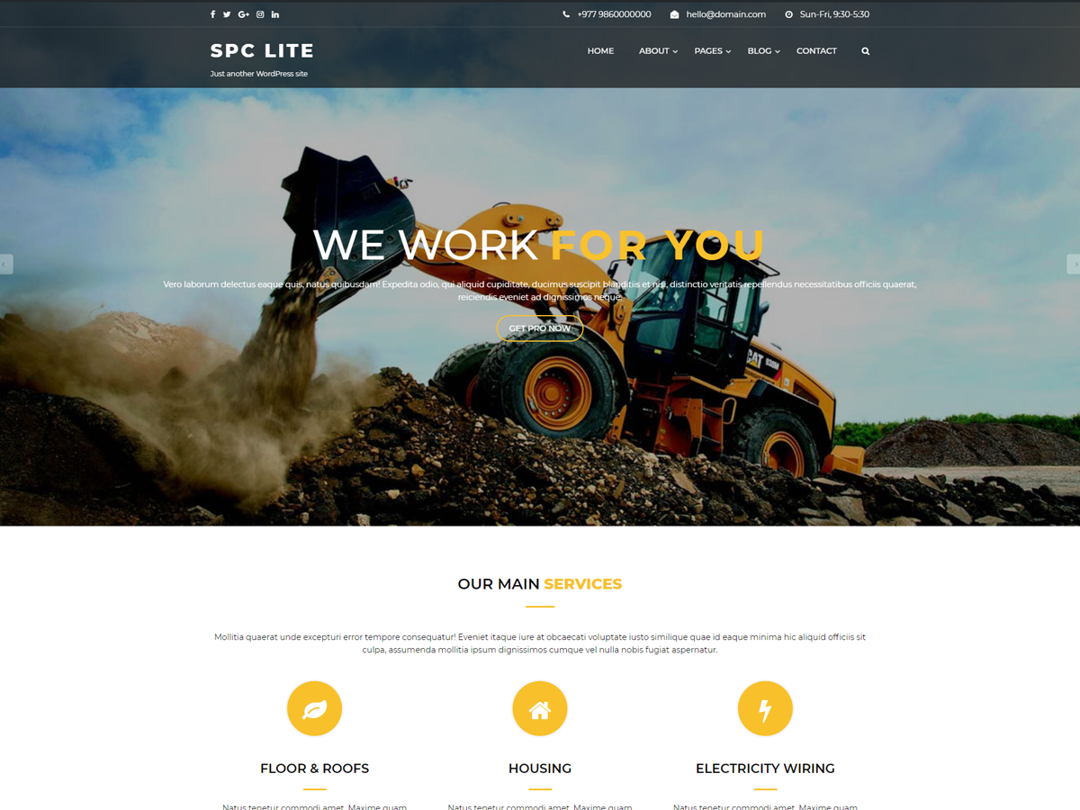 Spark Construction Preview Wordpress Theme - Rating, Reviews, Preview, Demo & Download