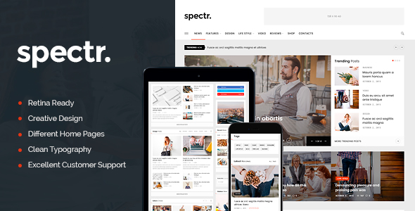 Spectr Preview Wordpress Theme - Rating, Reviews, Preview, Demo & Download