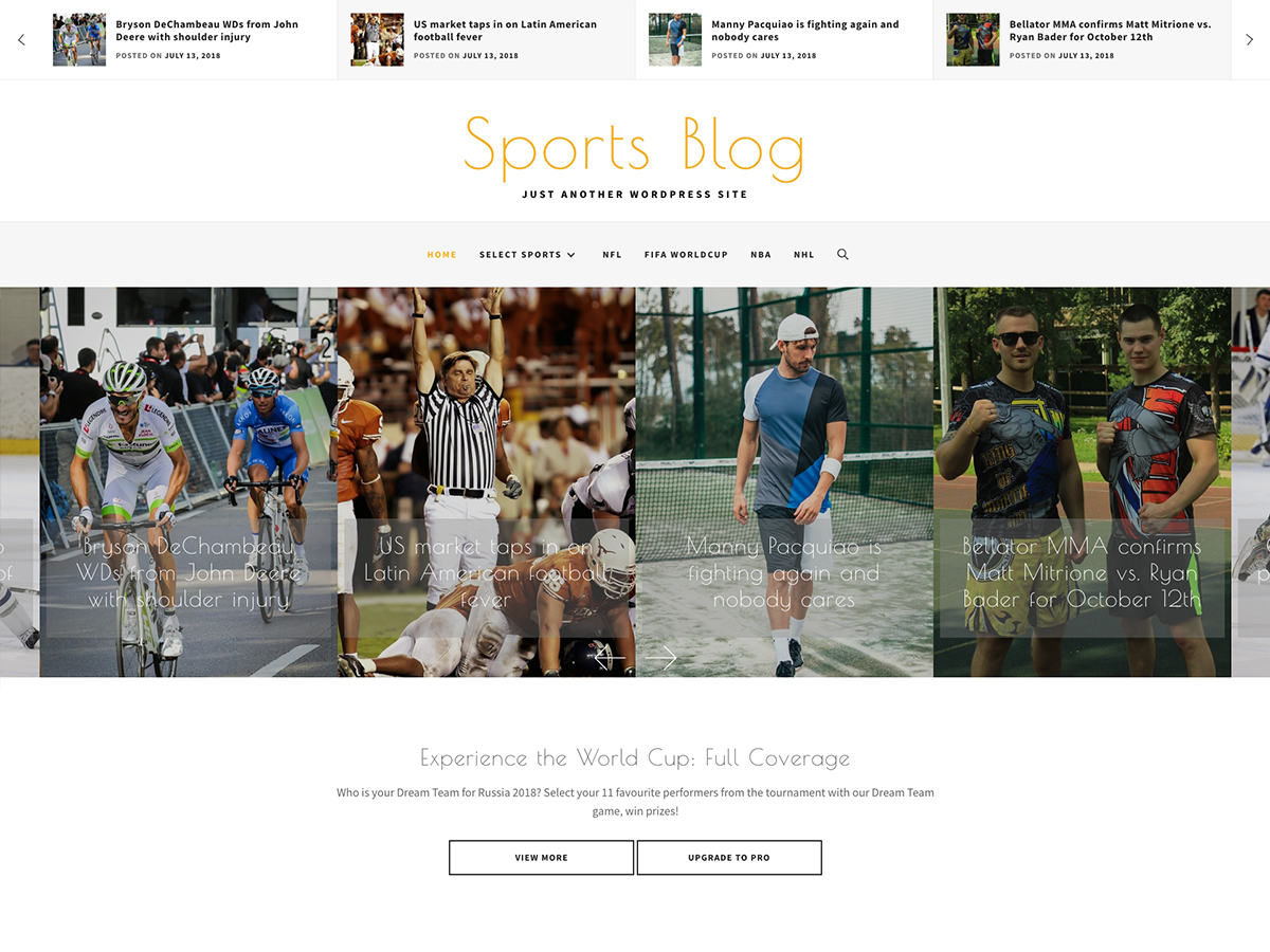 Sports Blog Preview Wordpress Theme - Rating, Reviews, Preview, Demo & Download