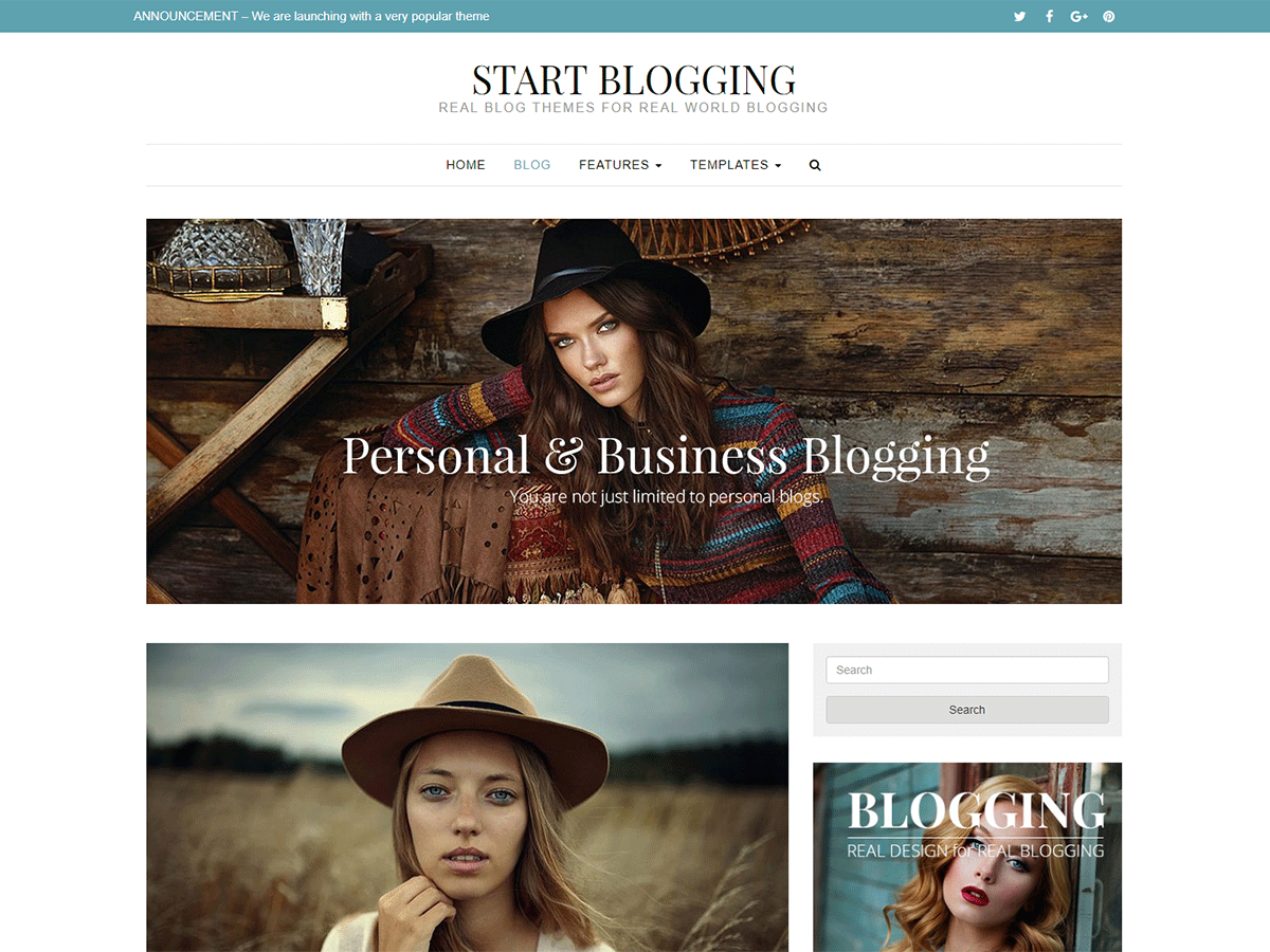 Start Blogging Preview Wordpress Theme - Rating, Reviews, Preview, Demo & Download