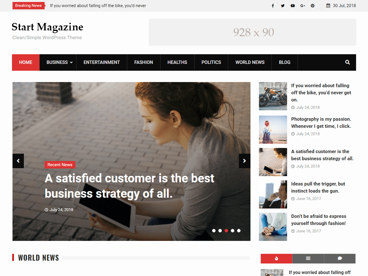 Start Magazine Preview Wordpress Theme - Rating, Reviews, Preview, Demo & Download