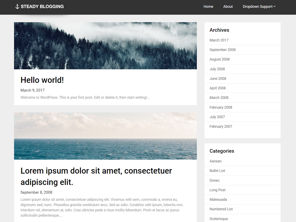 Steady Blogging Preview Wordpress Theme - Rating, Reviews, Preview, Demo & Download