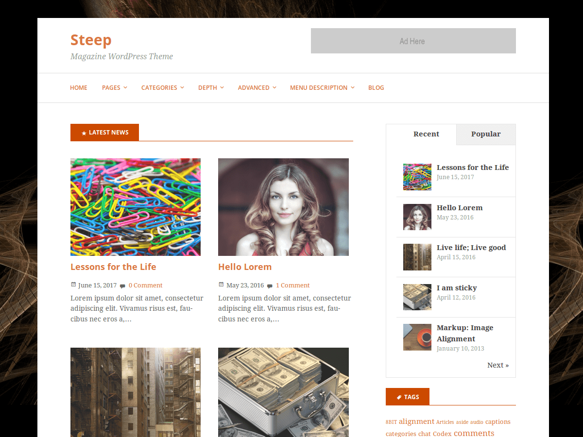 Steep Preview Wordpress Theme - Rating, Reviews, Preview, Demo & Download