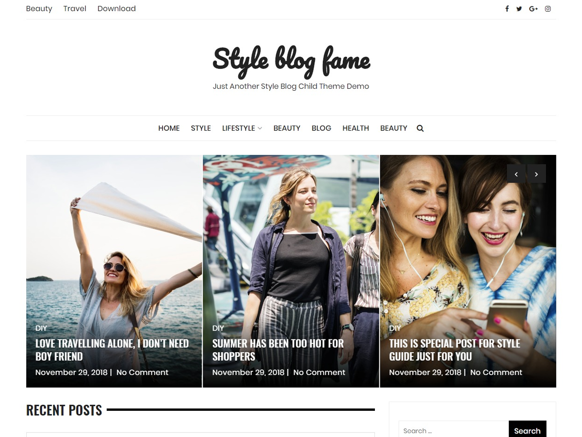 Style Blog Preview Wordpress Theme - Rating, Reviews, Preview, Demo & Download