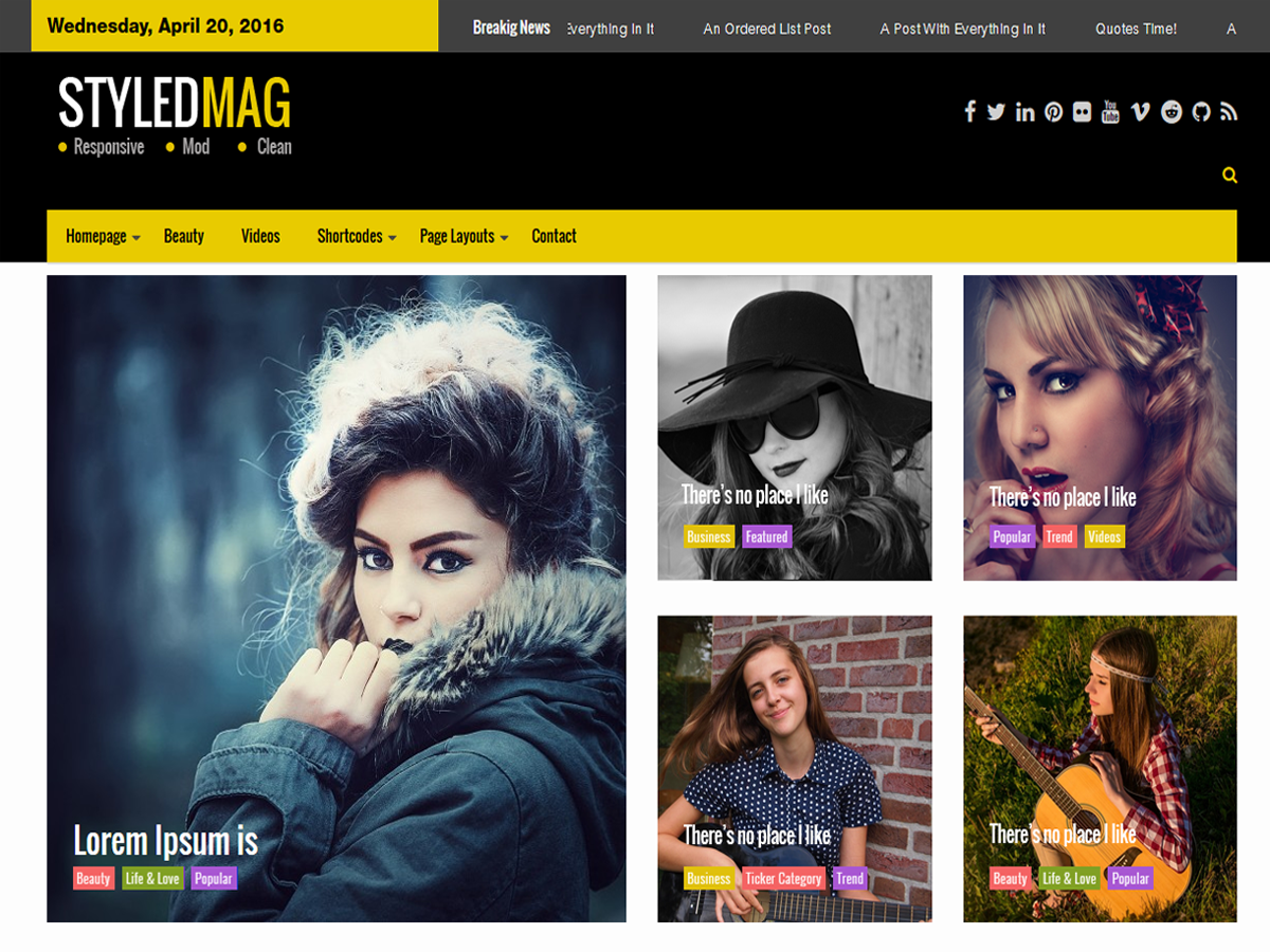 Styled Mag Preview Wordpress Theme - Rating, Reviews, Preview, Demo & Download