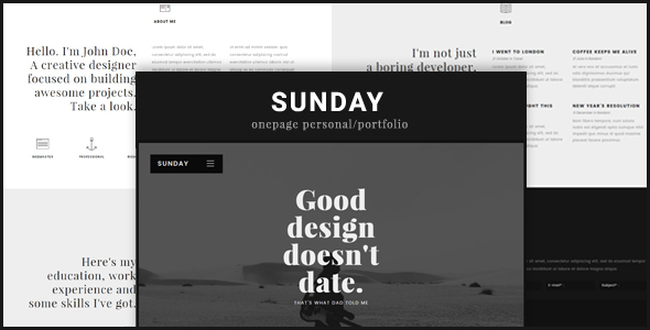 Sunday Onepage Preview Wordpress Theme - Rating, Reviews, Preview, Demo & Download