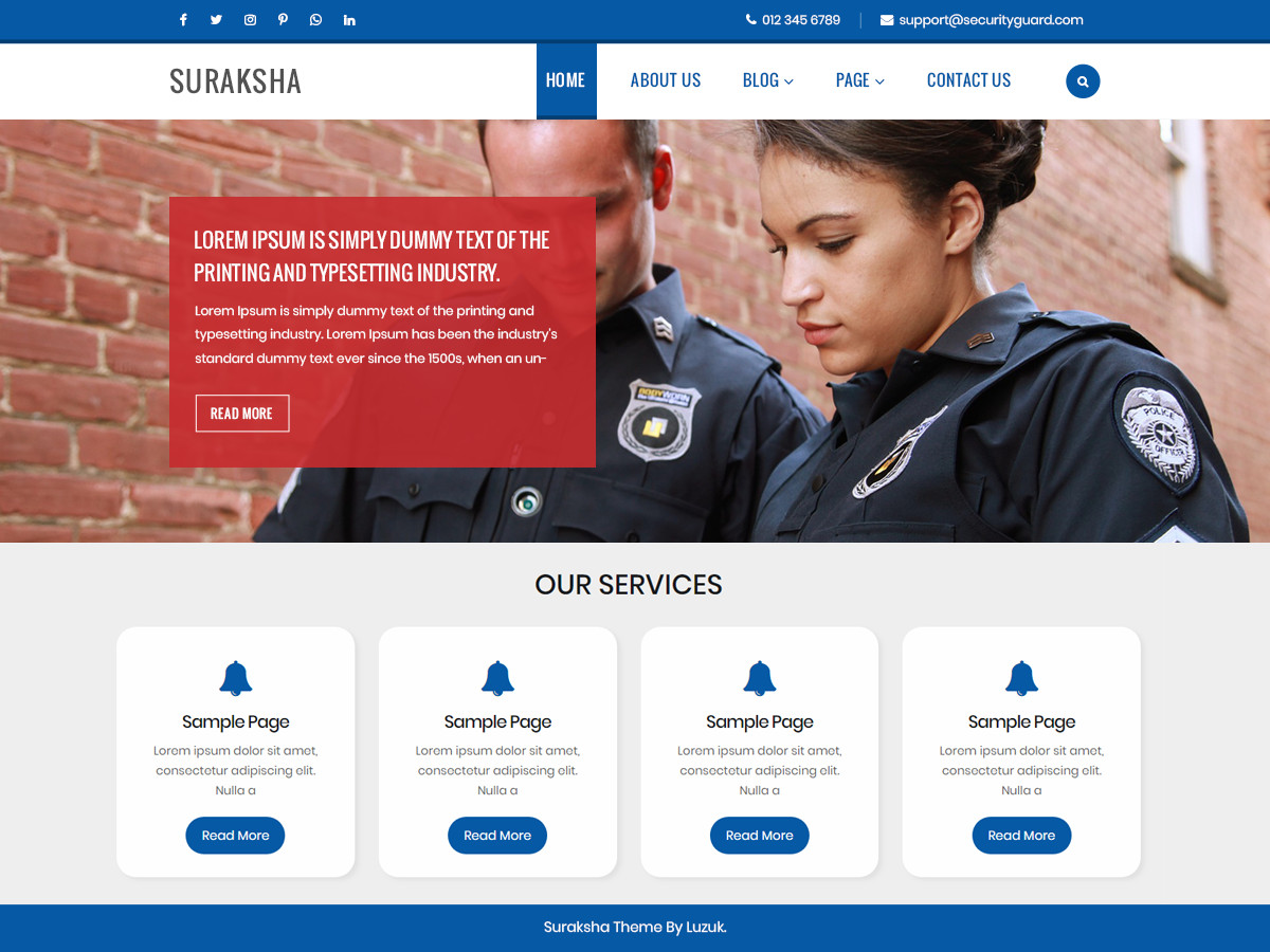 Suraksha Security Preview Wordpress Theme - Rating, Reviews, Preview, Demo & Download