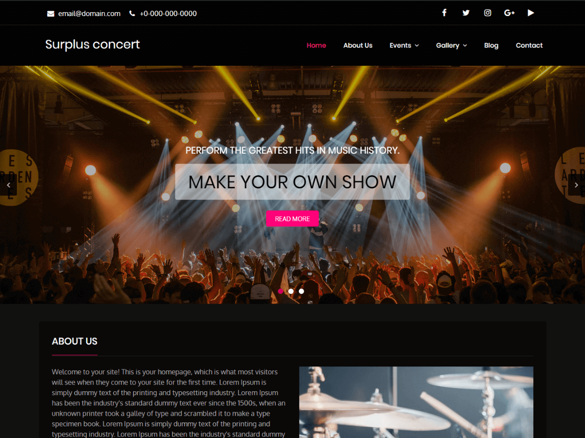Surplus Concert Preview Wordpress Theme - Rating, Reviews, Preview, Demo & Download