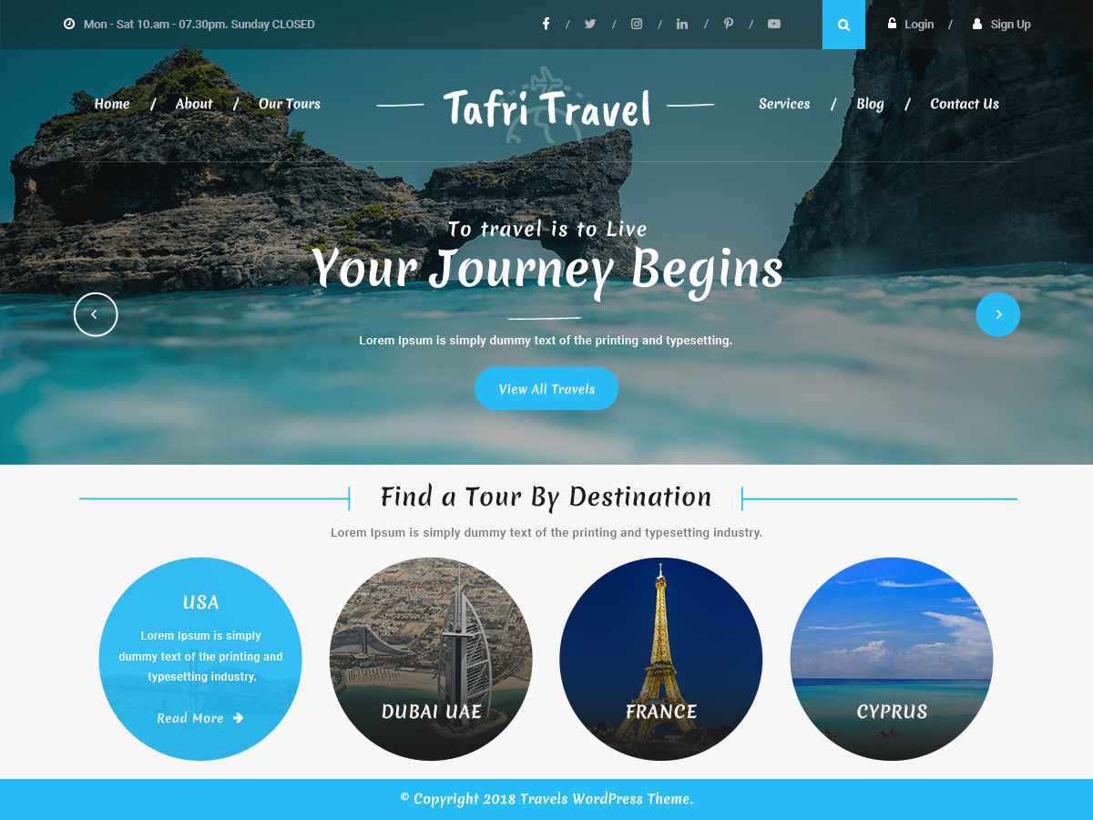 Tafri Travel Preview Wordpress Theme - Rating, Reviews, Preview, Demo & Download
