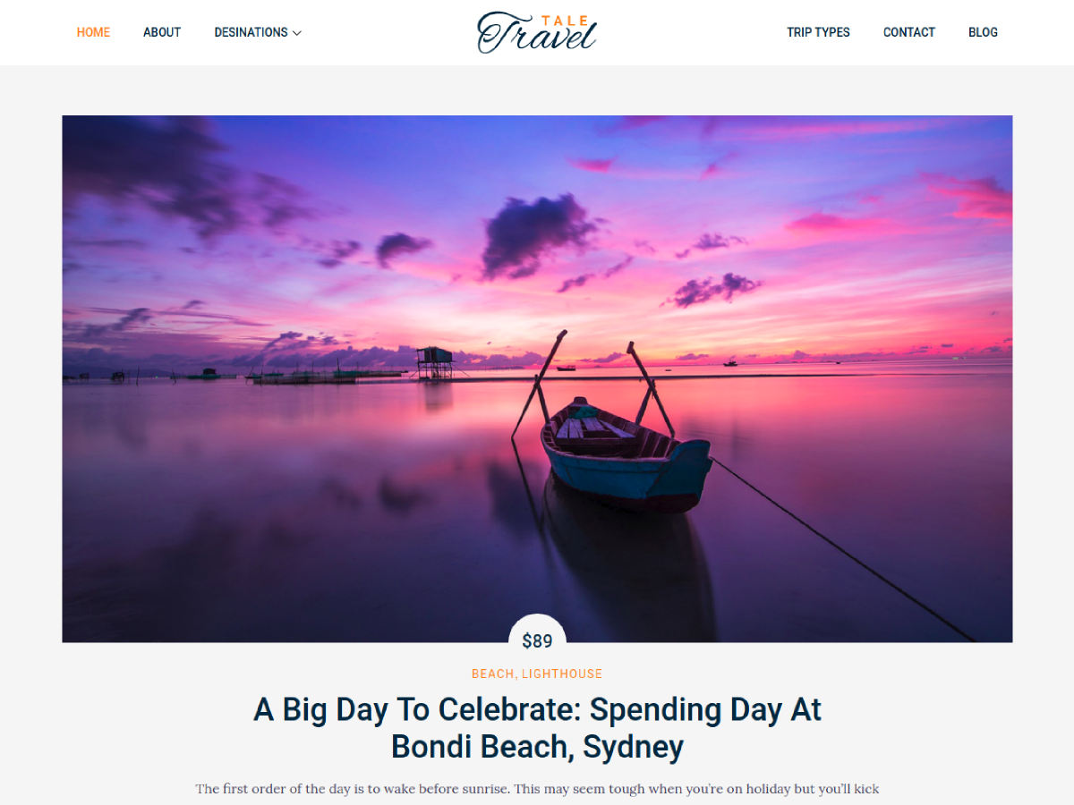 Tale Travel Preview Wordpress Theme - Rating, Reviews, Preview, Demo & Download