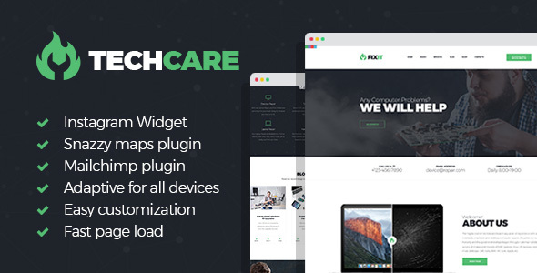 TechCare Preview Wordpress Theme - Rating, Reviews, Preview, Demo & Download