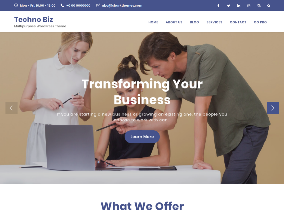 Techno Biz Preview Wordpress Theme - Rating, Reviews, Preview, Demo & Download