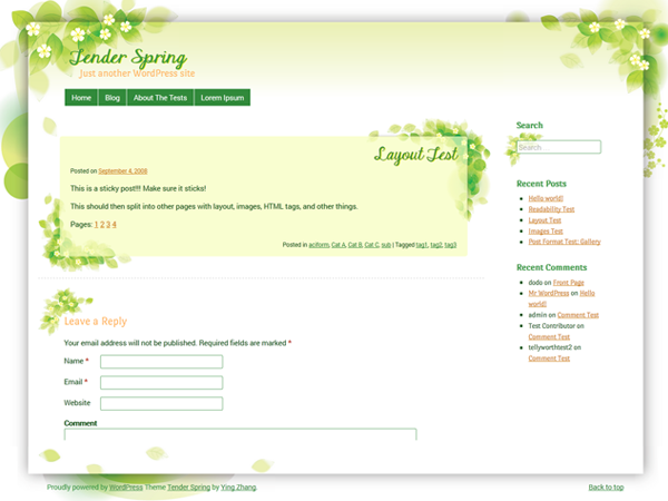 Tender Spring Preview Wordpress Theme - Rating, Reviews, Preview, Demo & Download