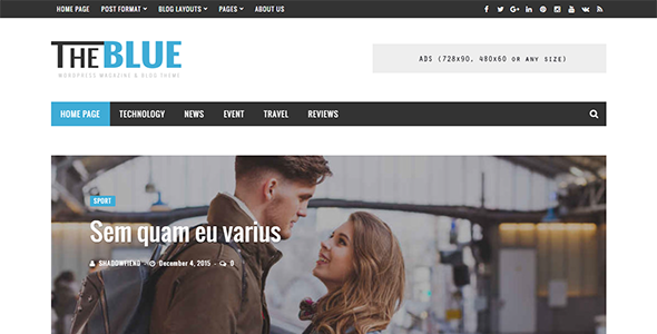 The Blue Preview Wordpress Theme - Rating, Reviews, Preview, Demo & Download