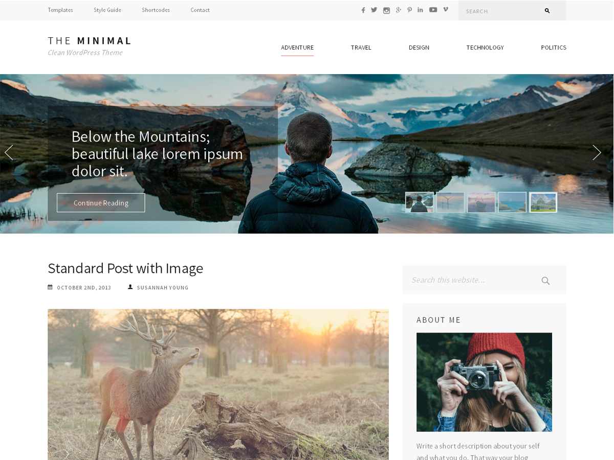 The Minimal Preview Wordpress Theme - Rating, Reviews, Preview, Demo & Download