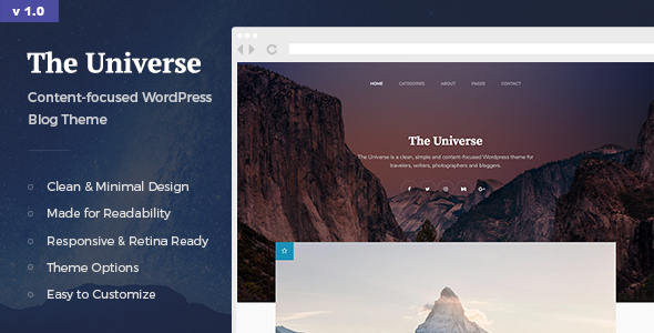 The Universe Preview Wordpress Theme - Rating, Reviews, Preview, Demo & Download