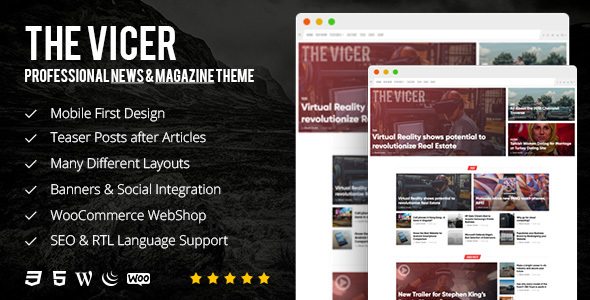 The Vicer Preview Wordpress Theme - Rating, Reviews, Preview, Demo & Download