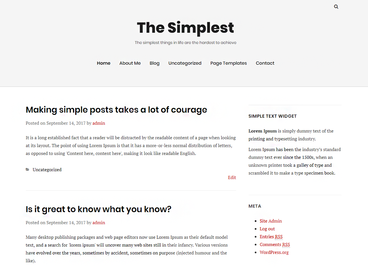 TheSimplest Preview Wordpress Theme - Rating, Reviews, Preview, Demo & Download