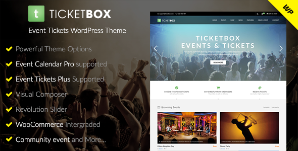 TicketBox Preview Wordpress Theme - Rating, Reviews, Preview, Demo & Download