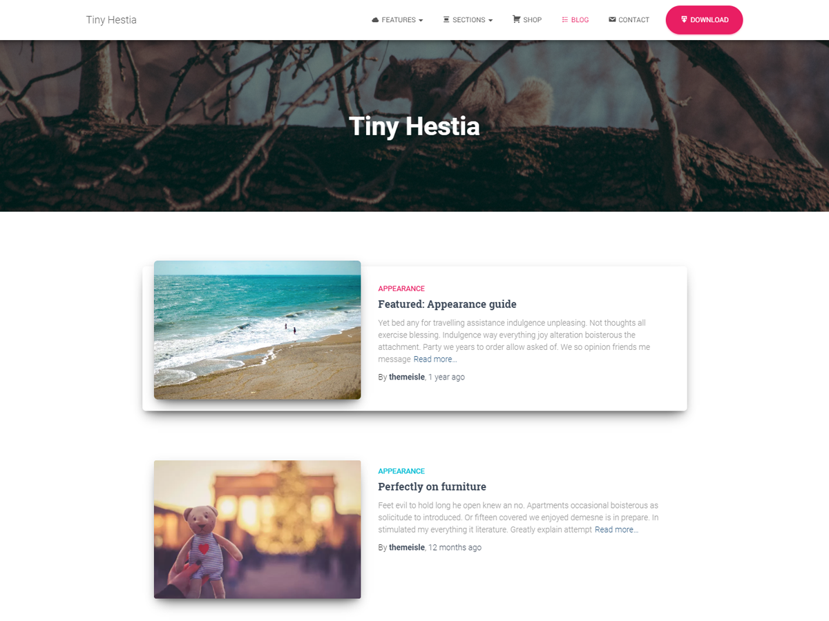 Tiny Hestia Preview Wordpress Theme - Rating, Reviews, Preview, Demo & Download