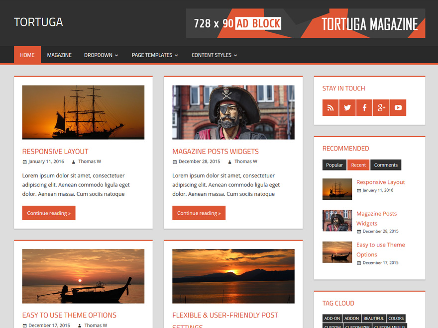 Tortuga Preview Wordpress Theme - Rating, Reviews, Preview, Demo & Download