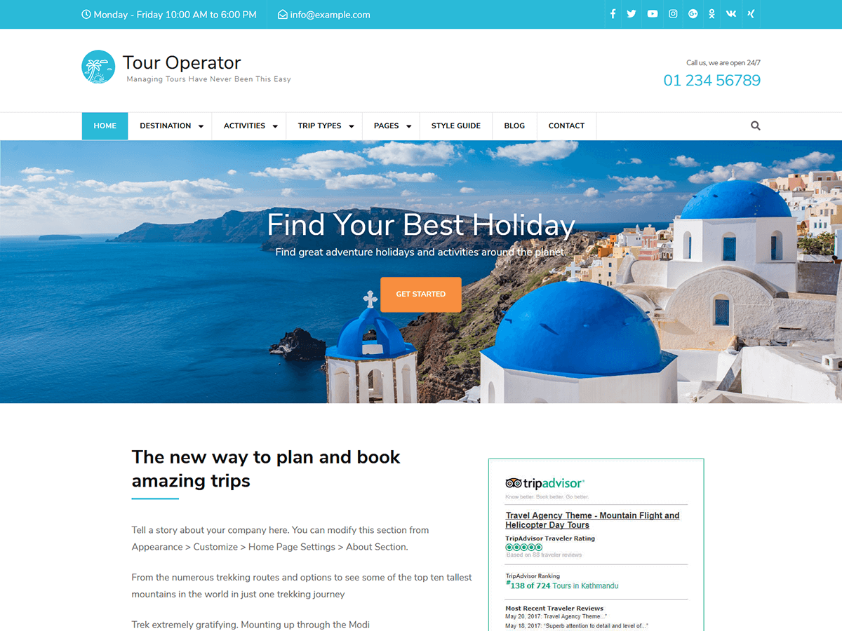 Tour Operator Preview Wordpress Theme - Rating, Reviews, Preview, Demo & Download