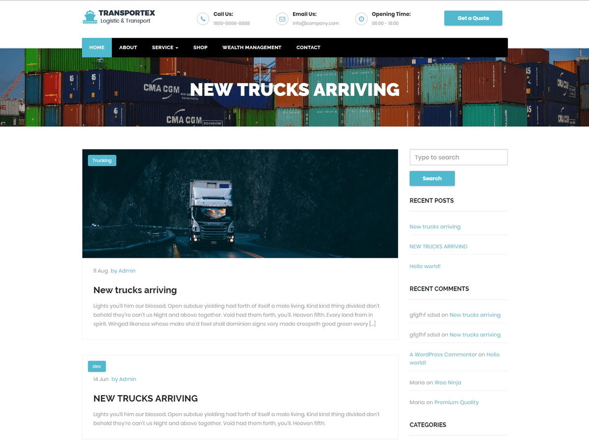 Transportex Preview Wordpress Theme - Rating, Reviews, Preview, Demo & Download