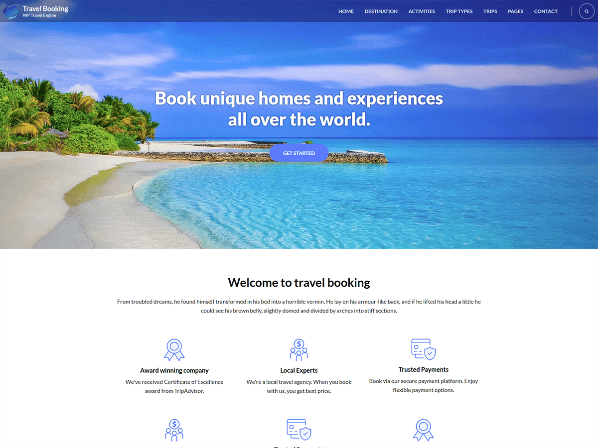 Travel Booking Preview Wordpress Theme - Rating, Reviews, Preview, Demo & Download