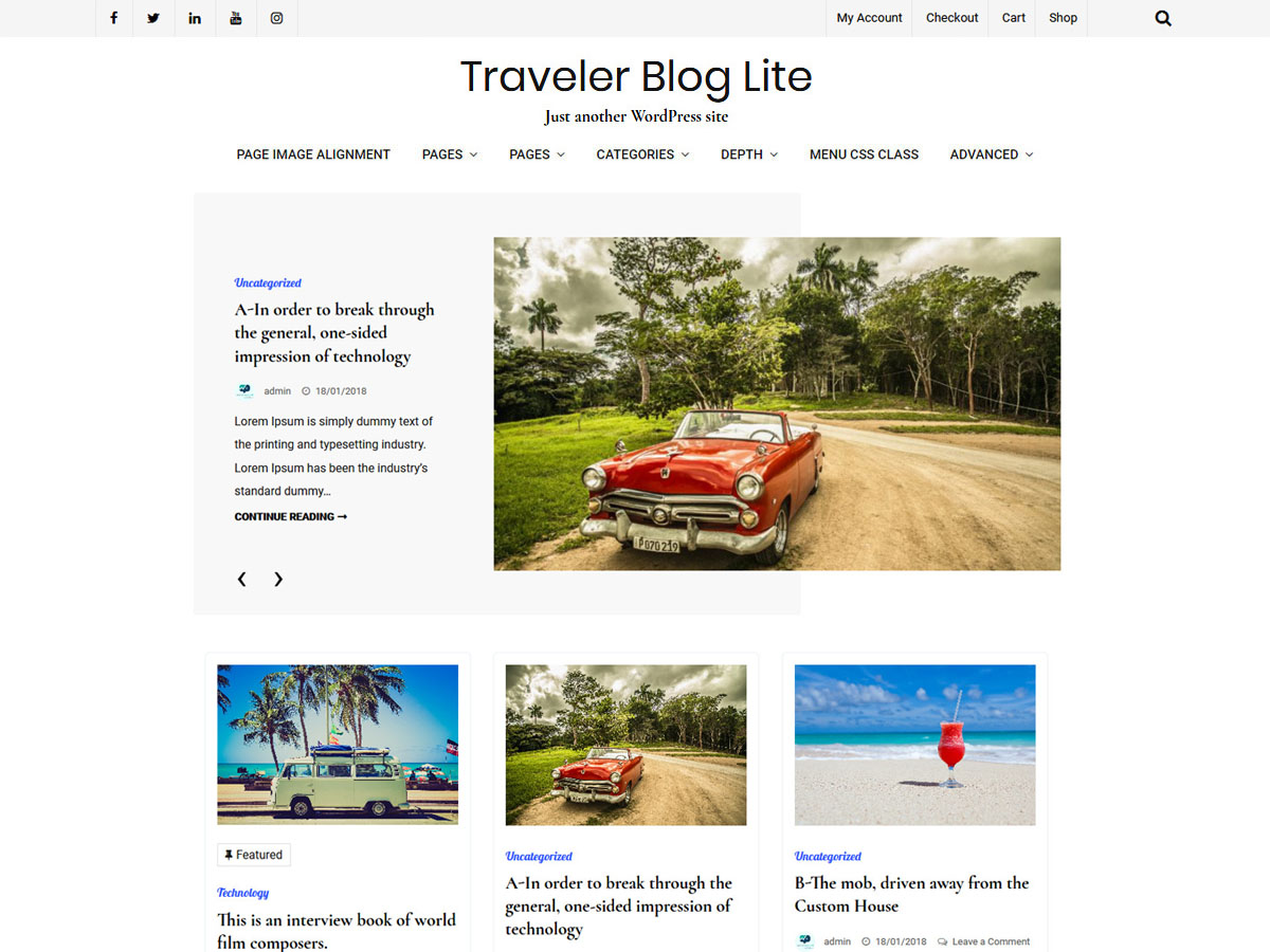 Traveler Blog Preview Wordpress Theme - Rating, Reviews, Preview, Demo & Download