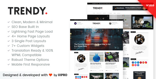 Trendy Pro Preview Wordpress Theme - Rating, Reviews, Preview, Demo & Download
