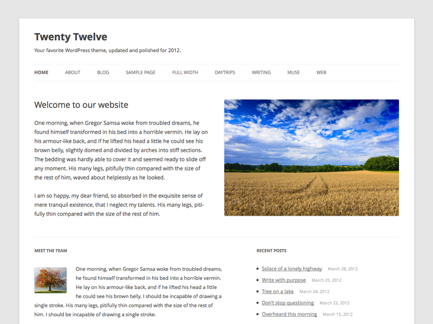 Twenty Twelve Preview Wordpress Theme - Rating, Reviews, Preview, Demo & Download