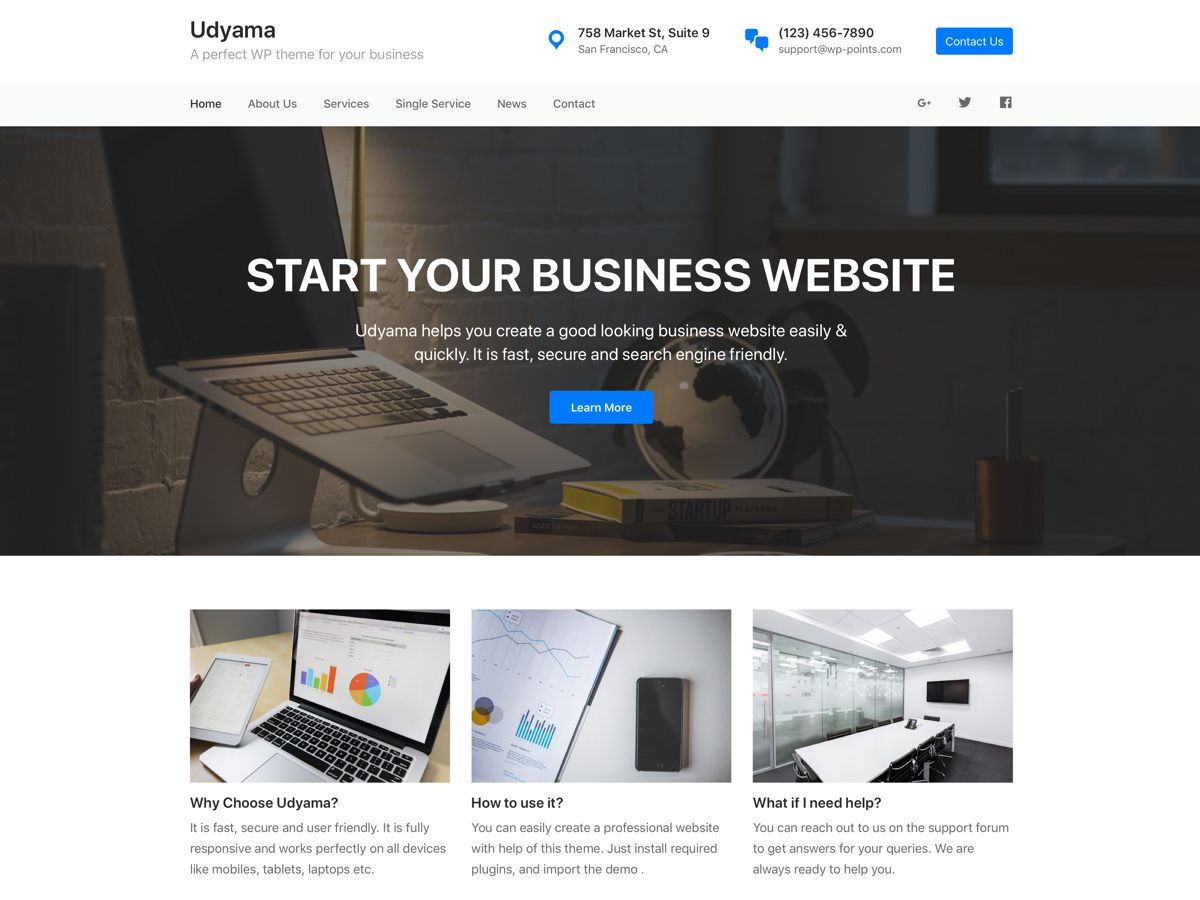Udyama Preview Wordpress Theme - Rating, Reviews, Preview, Demo & Download