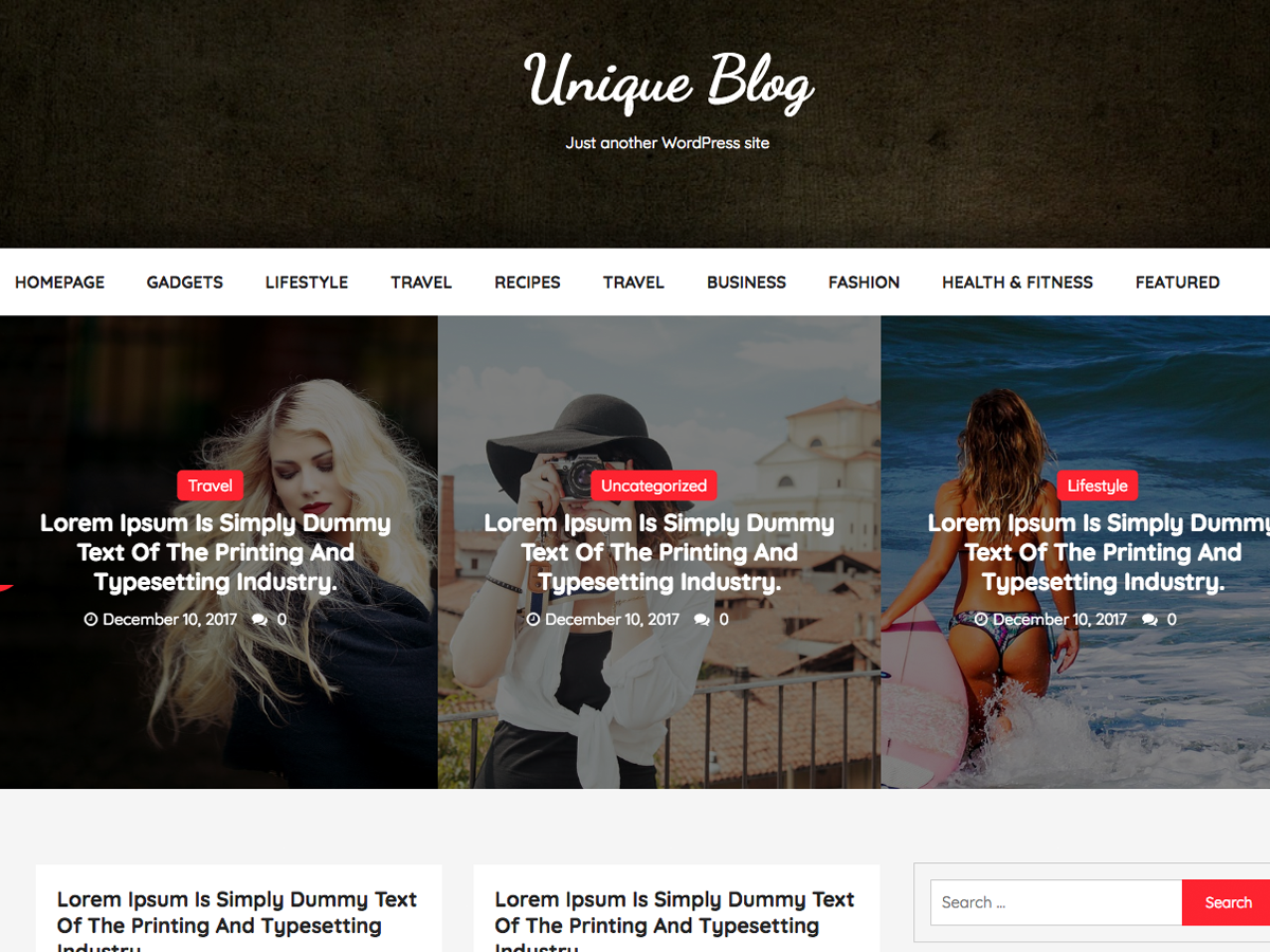 Unique Blog Preview Wordpress Theme - Rating, Reviews, Preview, Demo & Download