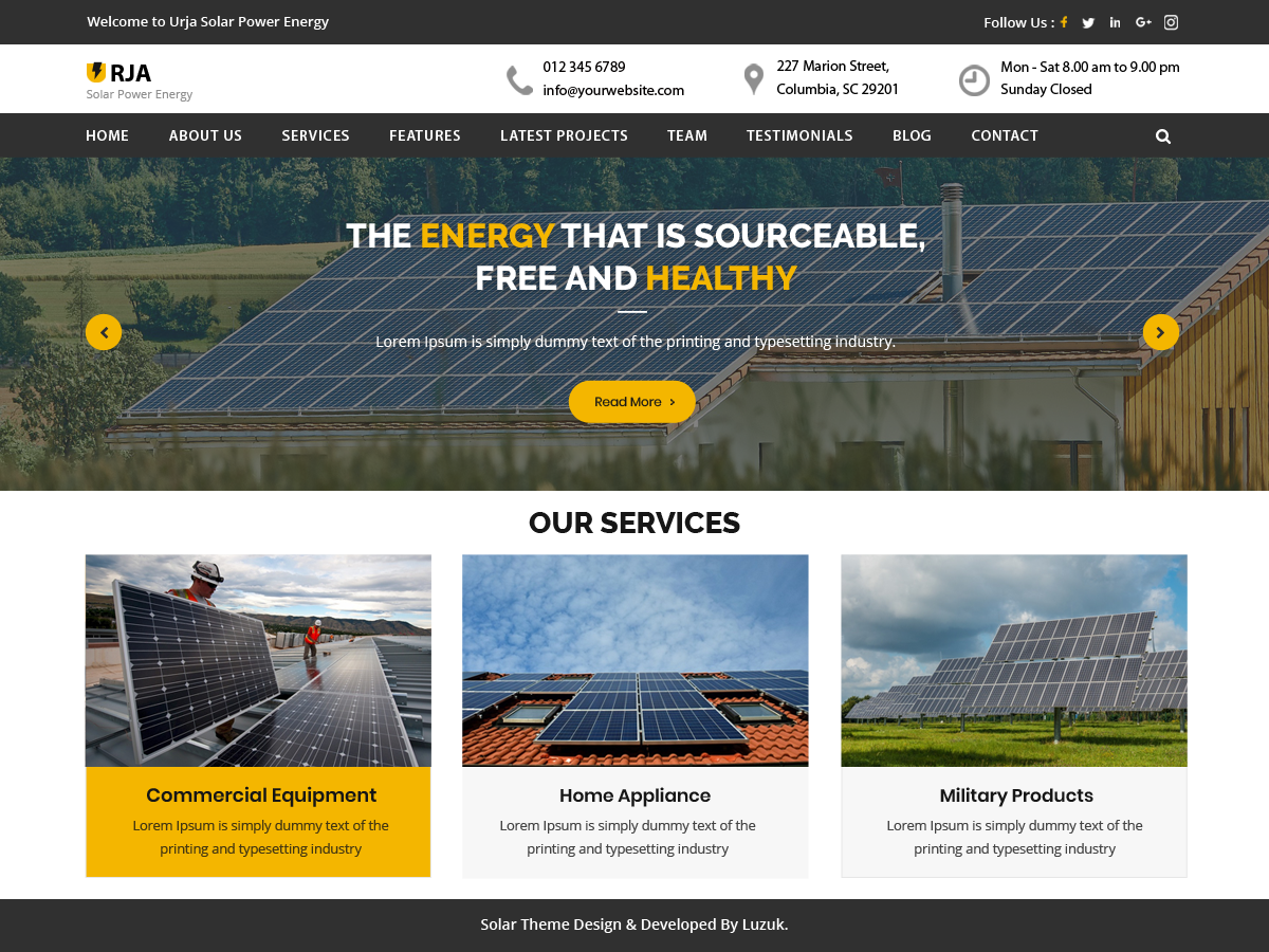 Urja Solar Preview Wordpress Theme - Rating, Reviews, Preview, Demo & Download