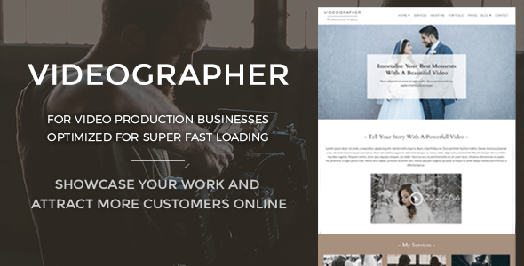 Videographer Preview Wordpress Theme - Rating, Reviews, Preview, Demo & Download
