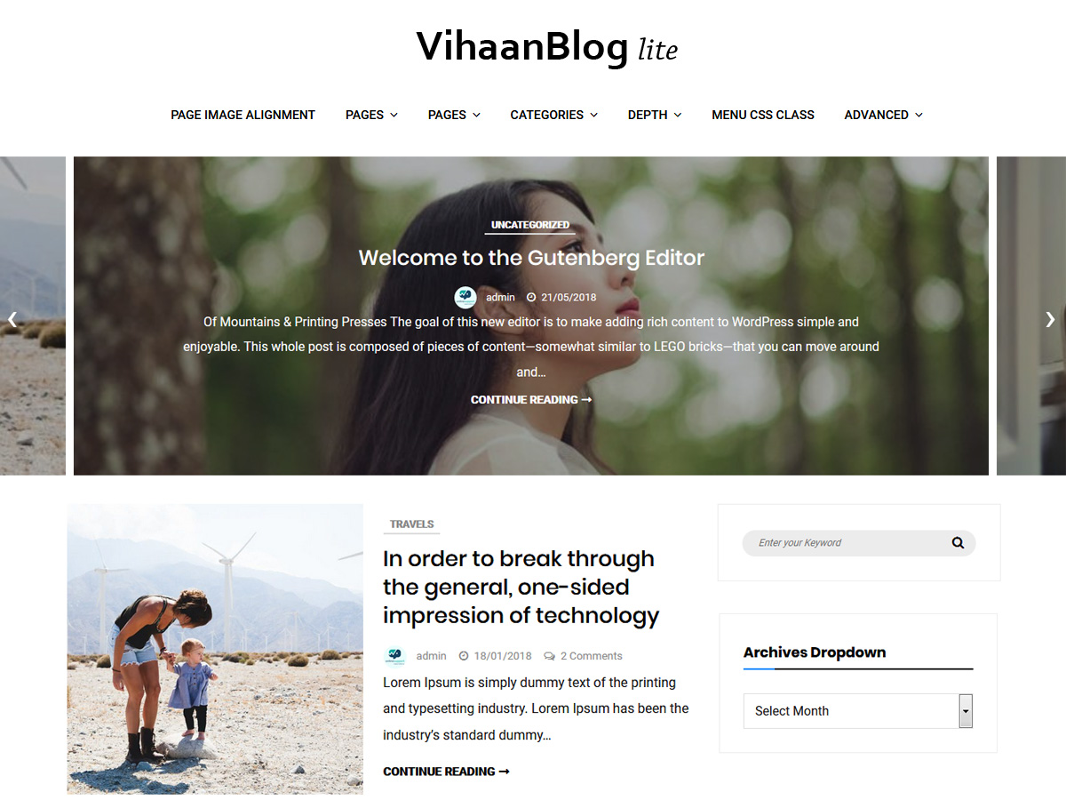 Vihaan Blog Preview Wordpress Theme - Rating, Reviews, Preview, Demo & Download