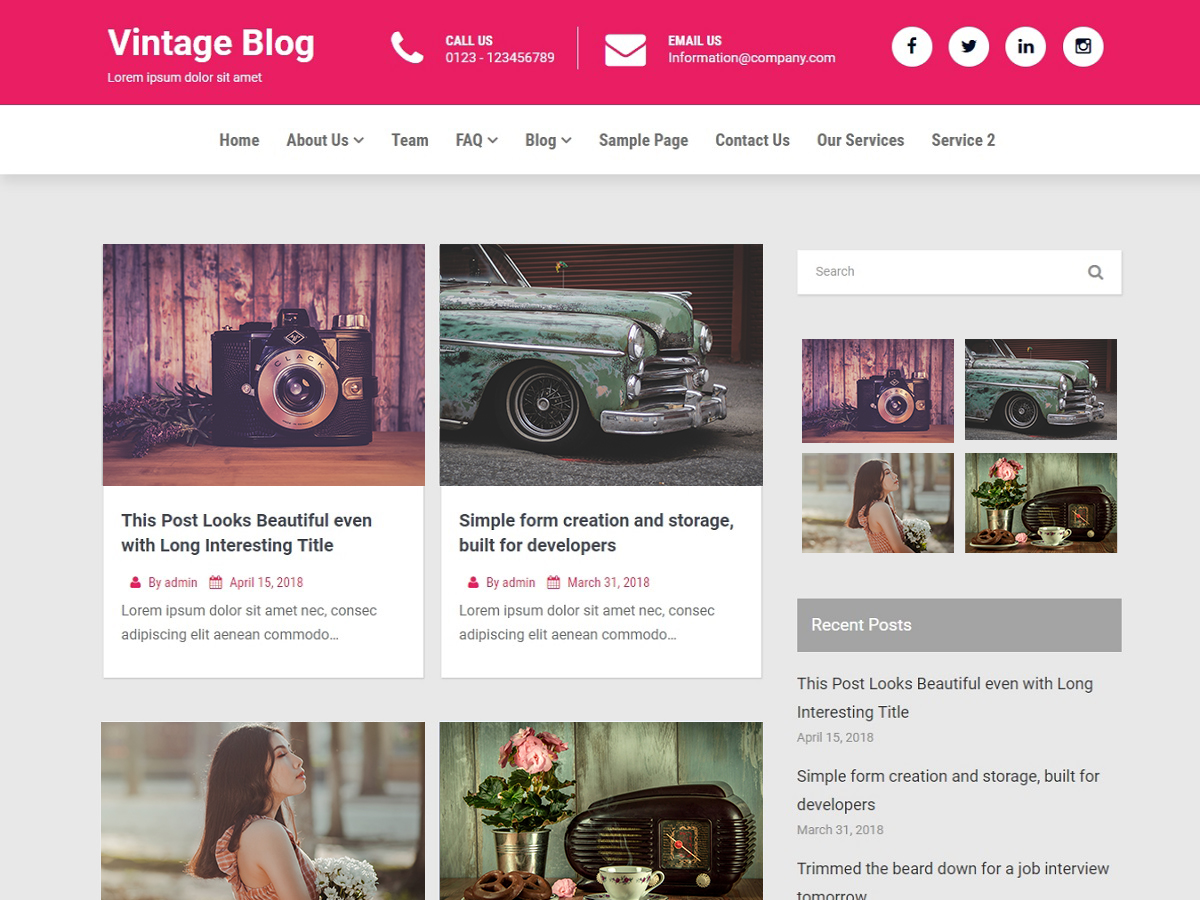 Vintage Blog Preview Wordpress Theme - Rating, Reviews, Preview, Demo & Download