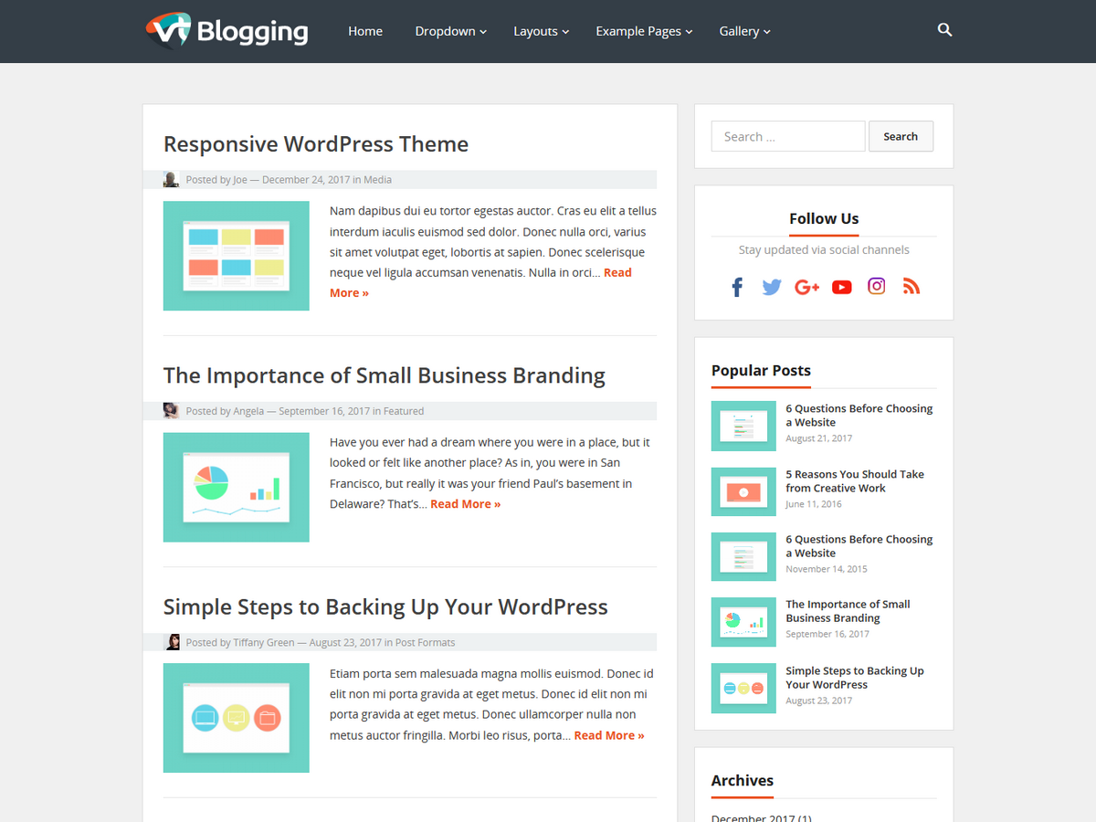 VT Blogging Preview Wordpress Theme - Rating, Reviews, Preview, Demo & Download