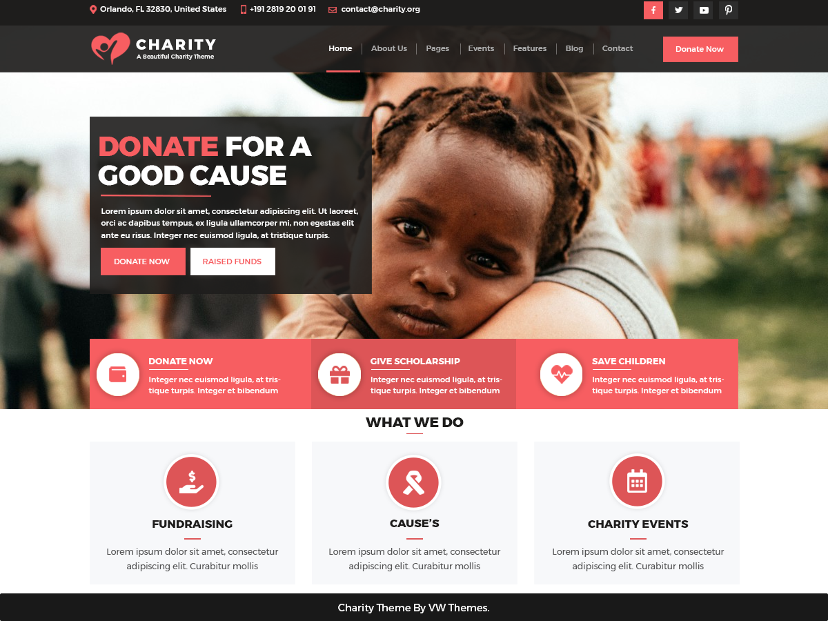 VW Charity Preview Wordpress Theme - Rating, Reviews, Preview, Demo & Download