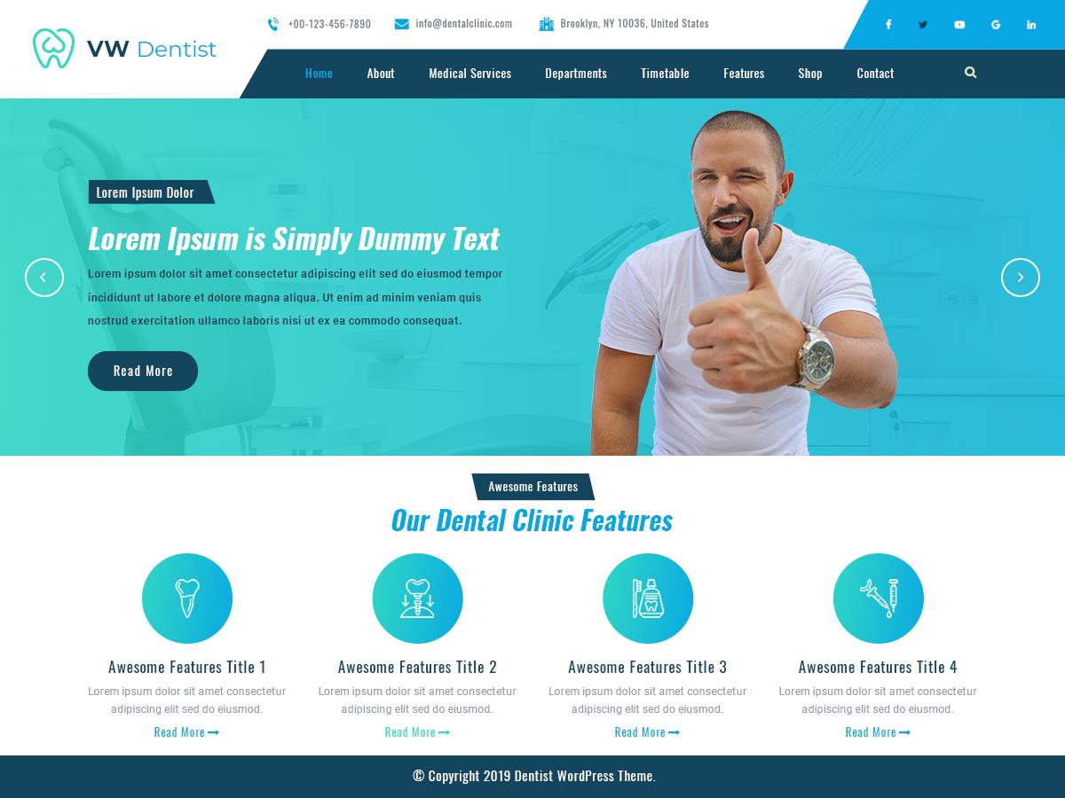 VW Dentist Preview Wordpress Theme - Rating, Reviews, Preview, Demo & Download