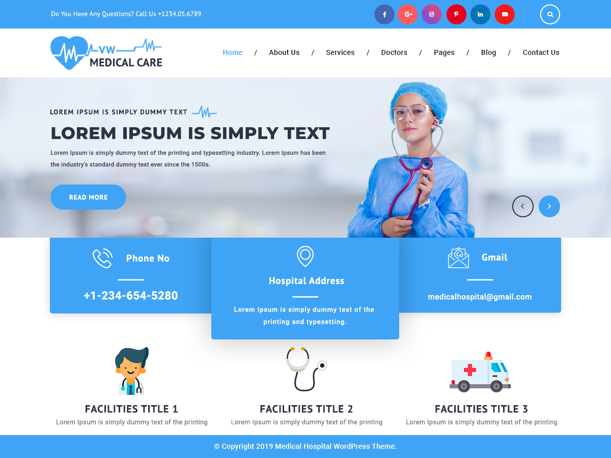 VW Medical Preview Wordpress Theme - Rating, Reviews, Preview, Demo & Download