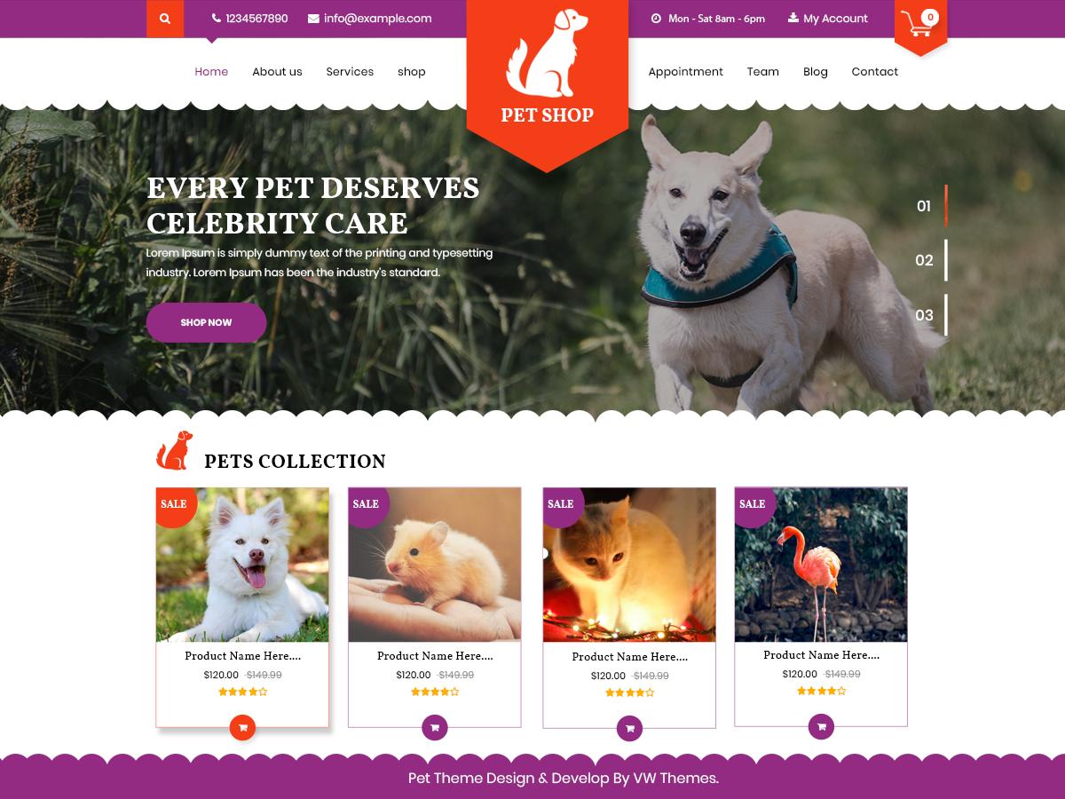 VW Pet Preview Wordpress Theme - Rating, Reviews, Preview, Demo & Download