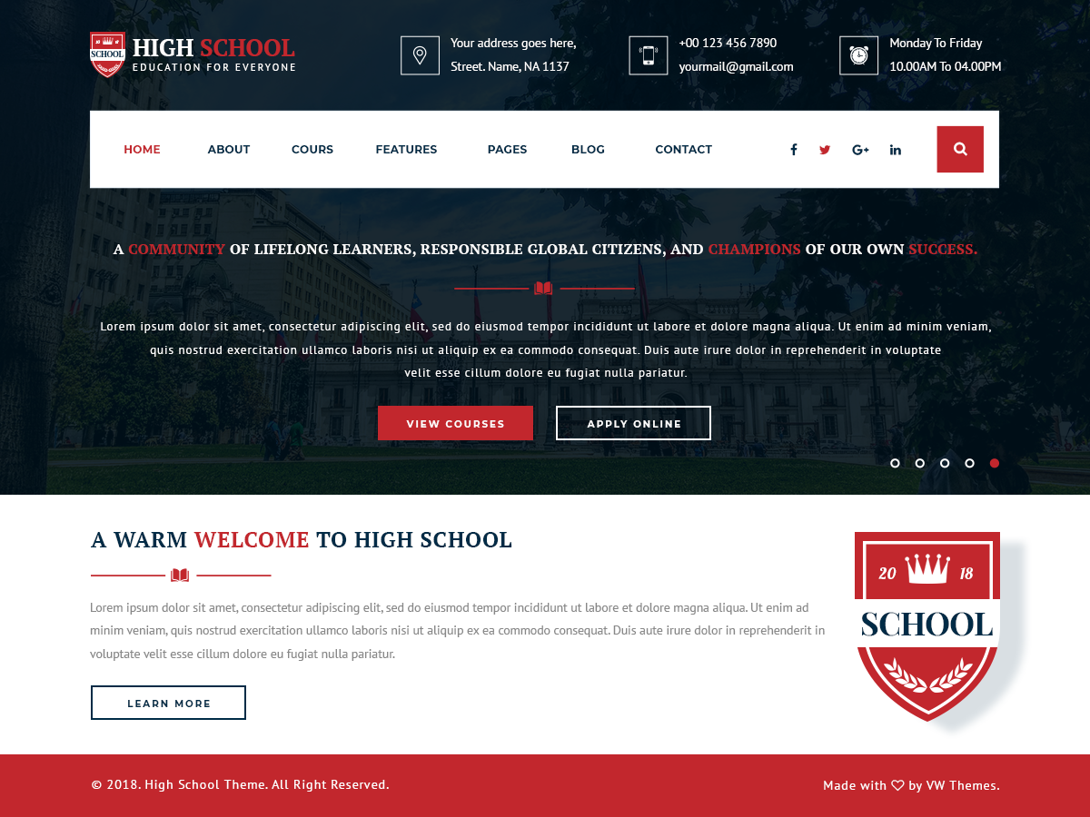 VW School Preview Wordpress Theme - Rating, Reviews, Preview, Demo & Download
