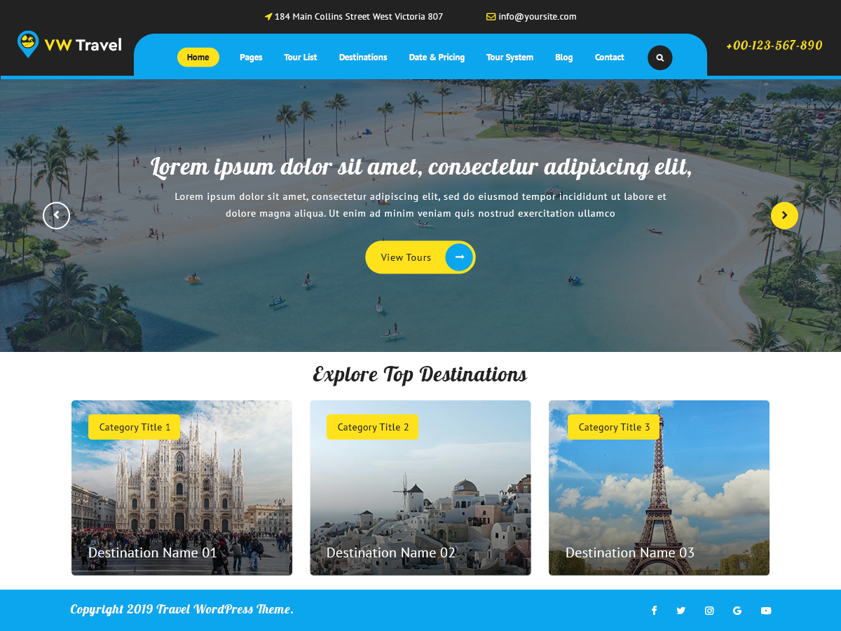 VW Travel Preview Wordpress Theme - Rating, Reviews, Preview, Demo & Download