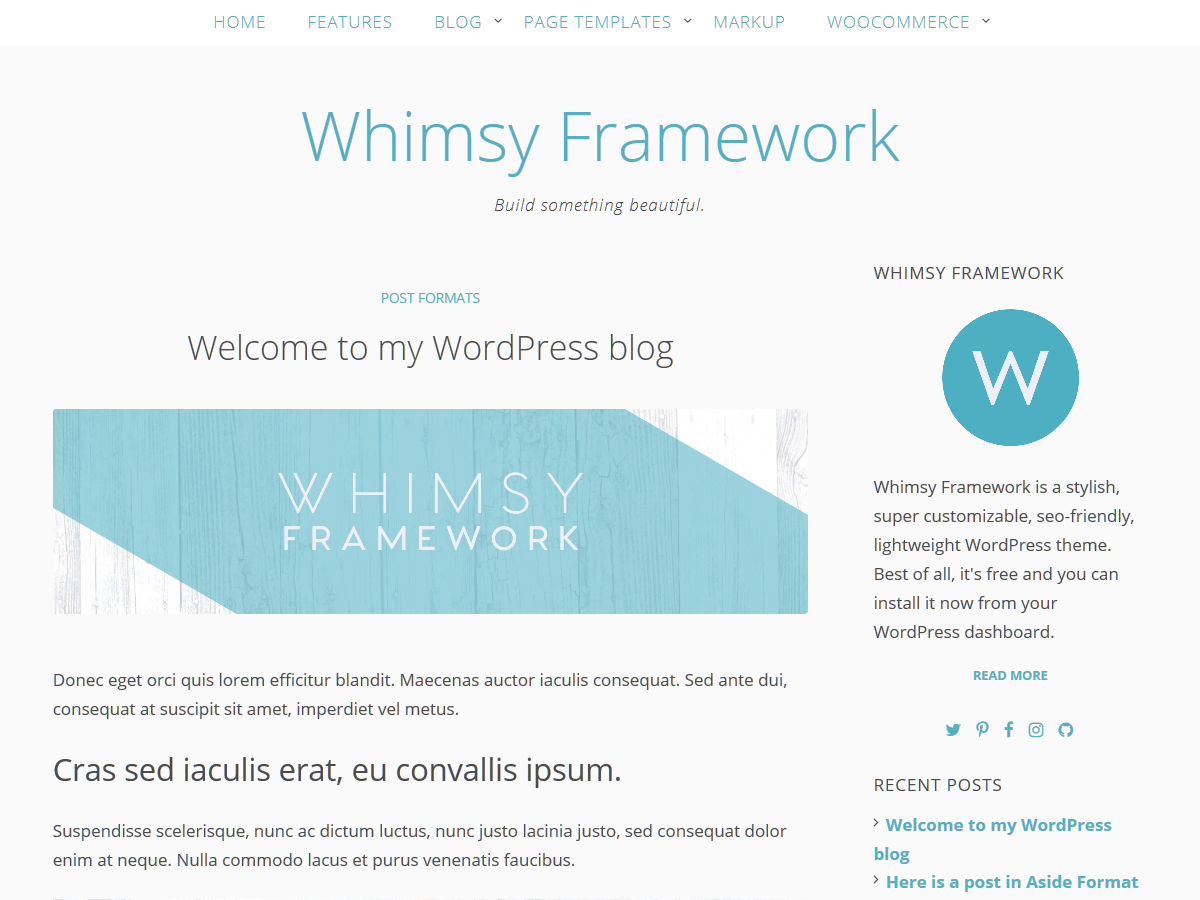 Whimsy Framework Preview Wordpress Theme - Rating, Reviews, Preview, Demo & Download